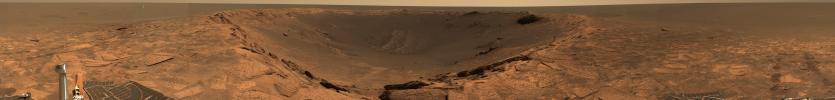 This panoramic view from NASA's Mars Exploration Rover Opportunity shows the 'Karatepe' ingress at the edge of 'Endurance Crater' on Mars.