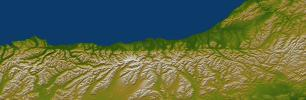 Alpine Fault, New Zealand, SRTM Shaded Relief and Colored Height