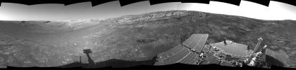 This 360-degree view of the terrain surrounding NASA's Mars Exploration Rover Opportunity was taken on the rover's 171st sol on Mars (July 17, 2004). It was assembled from images taken by the rover's navigation camera .