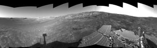 This left-eye view of the terrain surrounding NASA's Mars Exploration Rover Opportunity was taken on the rover's 171st sol on Mars (July 17, 2004). It was assembled from images taken by the rover's navigation camera.