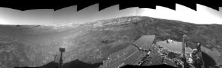This right-eye view of the terrain surrounding NASA's Mars Exploration Rover Opportunity was taken on the rover's 171st sol on Mars (July 17, 2004). It was assembled from images taken by the rover's navigation camera.