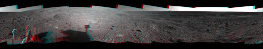 This 360-degree stereo anaglyph of the terrain surrounding NASA's Mars Exploration Rover Opportunity was taken on the rover's 189th sol on Mars. 3D glasses are necessary to view this image.