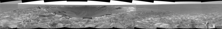 NASA's Mars Exploration Rover Opportunity shows a dramatic view of 'Endurance Crater' on Mars.