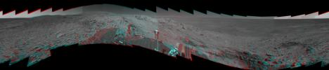 The highest point visible in this panoramic anaglyph from on NASA's Mars Exploration Rover Spirit is 'Husband Hill,' named for space shuttle Columbia Commander Rick Husband. 3D glasses are necessary to view this image.