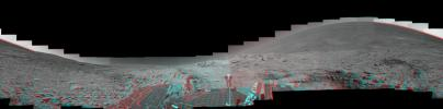 This mosaic of images from NASA's Mars Exploration Rover Spirit shows a panoramic anaglyph of the 'Columbia Hills.' 3D glasses are necessary to view this image.