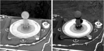 A thin frost was observed by NASA's Mars Exploration Rover Opportunity's panoramic camera on Oct. 13, 2004, 11 minutes after sunrise. The presence of frost is most clearly seen on the post in the center of the target.