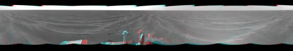 On Mar. 7, 2005, NASA's Mars Exploration Rover Opportunity drove 35 meters (115 feet) toward 'Vostok Crater' that sol before taking images. 3D glasses are necessary to view this image.