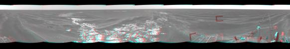 On Mar. 8, 2005, NASA's Mars Exploration Rover Opportunity drove 95 meters (312 feet) toward 'Vostok Crater' that sol before taking images. 3D glasses are necessary to view this image.