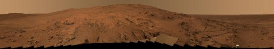 The view from NASA's Spirit is from a position known informally as 'Larry's Lookout' along the drive up 'Husband Hill'. The panorama took images on Feb.27-Mar.2, 2005.