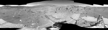 In time to survive the Martian winter, NASA's Mars Exploration Rover Spirit has driven to and parked on a north-facing slope in the 'Columbia Hills.' Spirit acquired the images in this mosaic on April 11, 2006.