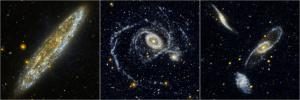 Located 10 million light-years away in the southern constellation Sculptor, the Silver Dollar galaxy, or NGC 253, is one of the brightest spiral galaxies in the night sky as seen in this edge-on view from NASA's Galaxy Evolution Explorer.