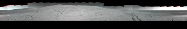 NASA's Mars Exploration Rover Spirit used its panoramic camera (Pancam) to record a 360-degree vista, dubbed the 'Thanksgiving' panorama, from the northwestern side of 'Husband Hill' in late 2004. 3D glasses are necessary to view this image.