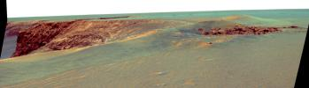 This false-color image taken on Sept. 28, 2006 from NASA's Mars Exploration Rover Opportunity, shows Victoria crater, looking southeast from Duck Bay towards the dramatic promontory called Cabo Frio.