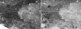 This pair of images, taken by NASA's Cassini spacecraft radar mapper on two different Titan passes on Dec. 11, 2006 (T21 left), and Oct. 29, 2005 (T8 right), represent two different views of a field of dunes.