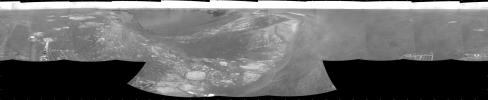 NASA's Mars Exploration Rover Opportunity used its navigation camera during the rover's 1,278th Martian day, or sol, (Aug. 28, 2007) to take the images combined into this view. The rover was perched at the lip of Victoria Crater.
