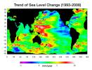 Warming water and melting land ice have raised global mean sea level 4.5 centimeters (1.7 inches) from 1993 to 2008. But the rise is by no means uniform.