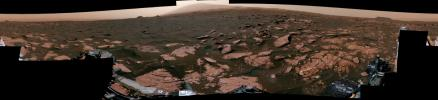 This 360-degree mosaic from the Mastcam on NASA's Curiosity Mars rover looks out over a portion of the Bagnold Dunes, which stretch for several miles.