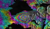 This satellite interferometric synthetic aperture radar image-pair shows relative deformation of the Earth's surface when nn April 22-23, 2015, significant explosive eruptions occurred at Calbuco volcano, Chile.