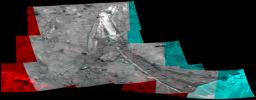 NASA�s Mars Exploration Rover Spirit acquired this mosaic on May 21, 2007, while investigating the area east of the elevated plateau known as 'Home Plate' in the 'Columbia Hills.' 3D glasses are necessary to view this image.