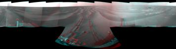 NASA's Mars Exploration Rover Opportunity used its navigation camera to take the images combined into this stereo 180-degree view on March 5, 2009. 3D glasses are necessary to view this image.