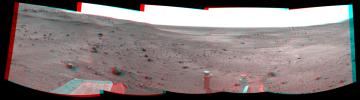 NASA's Mars Exploration Rover Spirit took these images that have been combined into this stereo, 180-degree view of the rover's surroundings on March 23, 2009. 3D glasses are necessary to view this image.