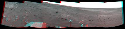 NASA's Mars Exploration Rover Opportunity combined images into this stereo, 360-degree view on March 28-30, 2009. In this view, the western edge of Home Plate is on the portion of the horizon farthest to the left. 3D glasses are necessary.