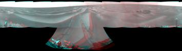NASA's Opportunity had driven 62.5 meters (205 feet) on April 7, 2009, southward away from an outcrop called 'Penrhyn,' which the rover had been examining for a few sols, and toward a crater called 'Adventure.' 3D glasses are necessary to view this image.