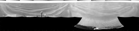 NASA's Opportunity had driven 72.3 meters southward (237 feet) that sol. Engineers drove the rover backward as a strategy to counteract an increase in the amount of current drawn by the drive motor of the right-front wheel. This is a cylindric projection.
