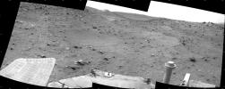 This scene combines three frames taken by the navigation camera on NASA's Mars Exploration Rover Spirit during the 1,869th Martian day, or sol, of Spirit's mission on Mars (April 6, 2009). It spans 120 degrees, with south at the center.