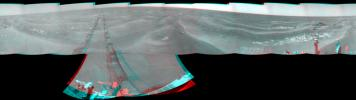 NASA's Mars Exploration Rover Opportunity used its navigation camera to take the images combined into this 360-degree stereo view of the rover's surroundings on July 19, 2009. 3D glasses are necessary to view this image.