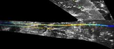 This mosaic, made from radar images obtained by NASA's Cassini spacecraft, shows parallel mountain chains on Saturn's moon Titan, near an equatorial region known as Adiri.