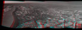 This stereo panorama taken by NASA's Mars Exploration Rover Opportunity includes an outcrop informally called 'Cambridge Bay.' 3D glasses are necessary to view this image.
