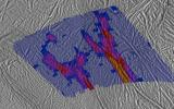 This image shows a high-resolution heat intensity map of part of the south polar region of Saturn's moon Enceladus, made from data obtained by NASA's Cassini spacecraft.