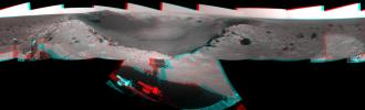This 360-degree, stereo mosaic of images from NASA's Mars Exploration Rover Opportunity shows the view from the western rim of 'Santa Maria' crater on Dec. 19, 2010. 3D glasses are necessary to view this image.