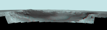 NASA's Mars Exploration Rover Opportunity spent the seventh anniversary of its landing on Mars investigating a crater called 'Santa Maria,' which has a diameter about the length of a football field. 3D glasses are necessary to view this image.