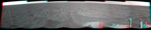 A dance-step pattern is visible in the wheel tracks near the left edge of this scene recorded by NASA's Mars Exploration Rover Opportunity on Mars on April 1, 2011. 3D glasses are necessary to view this image.