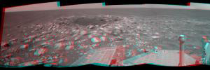NASA's Mars Exploration Rover Opportunity captured this stereo view of a wee crater, informally named 'Skylab,' along the rover's route. This crater was likely formed within the past 100,000 years. 3D glasses are necessary to view this image.