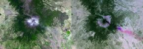 NASA's Terra spacecraft shows Mexico's active Popocatepetl volcano, located about 40 miles southeast of Mexico City, spewing water vapor, gas, ashes and glowing rocks since its most recent eruption period began in April 2012.