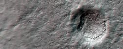 This anaglyph from NASA's Mars Reconnaissance Orbiter shows erosional features formed by seasonal frost near the south pole of Mars. 3D glasses are necessary to view this image.