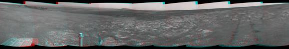 This 3D scene shows the view from where NASA's Mars Exploration Rover Opportunity first arrived on the rim of Endeavour crater, an impact crater about 14 miles (22 kilometers) in diameter. You will need 3D glasses to view this image.