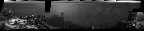 This 360-degree, full-resolution panorama from NASA's Curiosity rover shows the area all around the rover within Gale Crater on Mars. The rover's deck is to the left and far right.