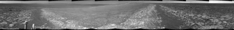 This 3D 360-degree panorama assembled from images taken by the navigation camera on NASA's Mars Exporation Rover Opportunity. The Sol 3000 site is near the northern tip of the Cape York segment of the western rim of Endeavour Crater.