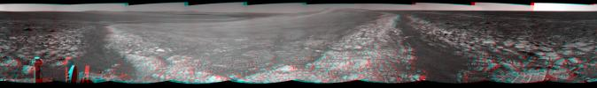 This 360-degree stereo panorama assembled from images taken by the navigation camera on NASA's Mars Exporation Rover Opportunity shows terrain surrounding the position where the rover spent its 3,000th Martian day working on Mars (July 2, 2012).