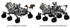 This engineering drawing shows the arm on NASA's Curiosity's rover in its 'ready-for-action' position, or