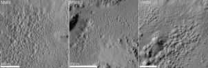 A distinctive 'pitted terrain' observed by NASA's Dawn mission on asteroid Vesta has also been seen on Mars. The morphologies of pits are similar on both bodies, with irregular shapes and sharp angles where pits share walls.
