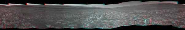 On the horizon in the right half of this panoramic view from NASA's Opportunity is an area of Mars informally named 'Matijevic Hill,' in commemoration of an influential rover-team leader. The hill includes an outcrop called Kirkwood.