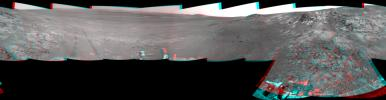 This full-circle, 3-D panorama shows the terrain around the NASA Mars Exploration Rover Opportunity on the northern portion of