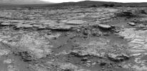 The sinuous rock feature in the lower center of this mosaic of images recorded by the NASA Mars rover Curiosity is called 'Snake River.' Curiosity gets a closer look at Snake River for before proceeding to other nearby rocks.