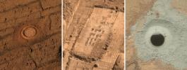 This set of images from Mars shows the handiwork of different tools on three NASA missions to the surface of Mars.