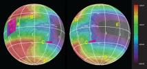This graphic of Jupiter's moon Europa maps a relationship between the amount of energy deposited onto the moon from charged-particle bombardment and chemical contents of ice deposits.